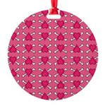 Pink Heart Crossbones Round Ornament