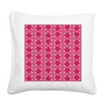 Pink Heart Crossbones Square Canvas Pillow