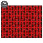 Red and Black Goth Cat Pattern Puzzle