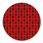 Red and Black Goth Cat Pattern Round Car Magnet