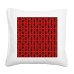 Red and Black Goth Cat Pattern Square Canvas Pillo