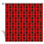 Red and Black Goth Cat Pattern Shower Curtain