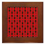 Red and Black Goth Cat Pattern Framed Tile