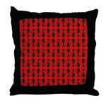 Red and Black Goth Cat Pattern Throw Pillow