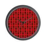 Red and Black Goth Cat Pattern Wall Clock
