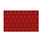 Red and Black Goth Cat Pattern 20x12 Wall Decal