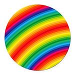 Rainbow Striped Pattern Round Car Magnet