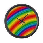 Rainbow Striped Pattern Large Wall Clock