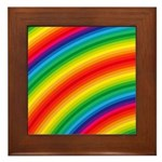 Rainbow Striped Pattern Framed Tile