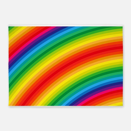 Rainbow Striped Pattern 5'x7'Area Rug