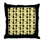 Black Cat in a Christmas Hat Throw Pillow