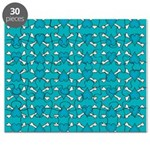 Turquoise Heart and Crossbones Pattern Puzzle