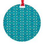 Turquoise Heart and Crossbones Pattern Round Ornam