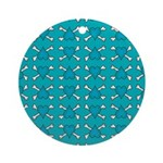Turquoise Heart and Crossbones Pattern Ornament (R