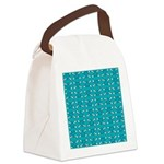 Turquoise Heart and Crossbones Pattern Canvas Lunc