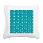 Turquoise Heart and Crossbones Pattern Square Canv