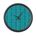 Turquoise Heart and Crossbones Pattern Large Wall