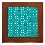 Turquoise Heart and Crossbones Pattern Framed Tile