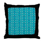 Turquoise Heart and Crossbones Pattern Throw Pillo