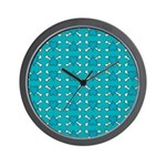 Turquoise Heart and Crossbones Pattern Wall Clock
