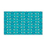 Turquoise Heart and Crossbones Pattern 20x12 Wall