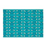 Turquoise Heart and Crossbones Pattern 5'x7'Area R