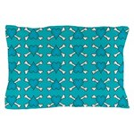 Turquoise Heart and Crossbones Pattern Pillow Case