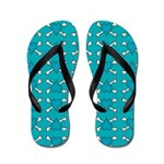 Turquoise Heart and Crossbones Pattern Flip Flops
