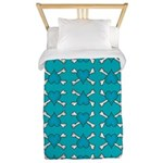 Turquoise Heart and Crossbones Pattern Twin Duvet