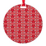 Red Heart and Crossbones Pattern Round Ornament