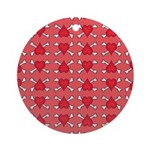 Red Heart and Crossbones Pattern Ornament (Round)