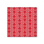 Red Heart and Crossbones Pattern Square Sticker 3