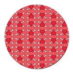 Red Heart and Crossbones Pattern Round Car Magnet