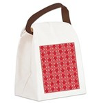 Red Heart and Crossbones Pattern Canvas Lunch Bag
