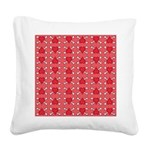 Red Heart and Crossbones Pattern Square Canvas Pil