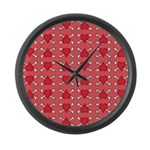 Red Heart and Crossbones Pattern Large Wall Clock