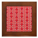 Red Heart and Crossbones Pattern Framed Tile
