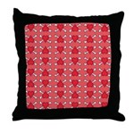 Red Heart and Crossbones Pattern Throw Pillow