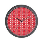 Red Heart and Crossbones Pattern Wall Clock