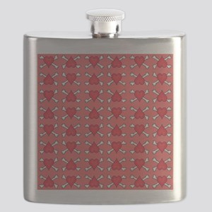 Red Heart and Crossbones Pattern Flask