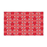 Red Heart and Crossbones Pattern 35x21 Wall Decal