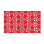 Red Heart and Crossbones Pattern 20x12 Wall Decal
