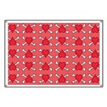 Red Heart and Crossbones Pattern Banner