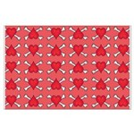 Red Heart and Crossbones Pattern Large Poster