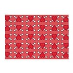 Red Heart and Crossbones Pattern 5'x7'Area Rug