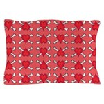 Red Heart and Crossbones Pattern Pillow Case