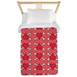 Red Heart and Crossbones Pattern Twin Duvet
