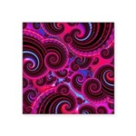 Funky Pink Turquoise Swirl Square Sticker 3