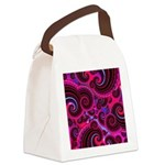 Funky Pink Turquoise Swirl Canvas Lunch Bag