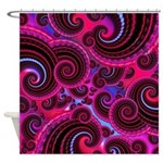 Funky Pink Turquoise Swirl Shower Curtain